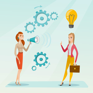Business woman speaking to megaphone and making announcement for business idea. Business woman came up with idea. Business idea and announcement concept. Vector flat design illustration. Square layout