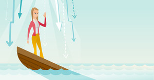 Business woman standing in sinking boat and asking for help. Business woman sinking and arrows behind her pointing down symbolizing bankruptcy. Vector flat design illustration. Horizontal layout.