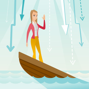 Business woman standing in sinking boat and asking for help. Business woman sinking and arrows behind her pointing down symbolizing business bankruptcy. Vector flat design illustration. Square layout.