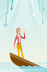 Business woman standing in sinking boat and asking for help. Young business woman sinking and arrows behind her pointing down symbolizing bankruptcy. Vector flat design illustration. Vertical layout.