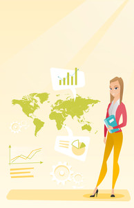Business woman taking part in global business. Businesswoman standing on the background of map. Global business and business globalization concept. Vector flat design illustration. Vertical layout.
