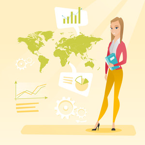 Business woman taking part in global business. Businesswoman standing on the background of world map. Global business and business globalization concept. Vector flat design illustration. Square layout