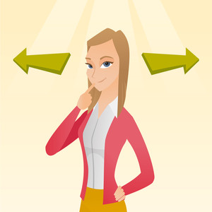 Business woman thinking about solution of business problem. Businesswoman with two arrows symbolizing business solution. Business solution concept. Vector flat design illustration. Square layout.