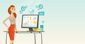 Business woman using computer for making of report. Woman making business presentation on computer. Woman demonstrating report on computer screen. Vector flat design illustration. Horizontal layout.