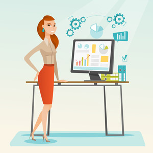Business woman using computer for making report. Woman making business presentation on computer. Businesswoman demonstrating report on a computer screen. Vector flat design illustration. Square layout