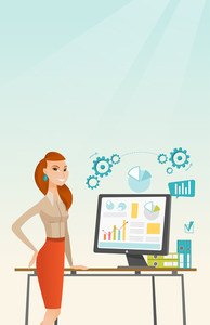 Business woman using computer for making report. Woman making business presentation on computer. Businesswoman demonstrating report on computer screen. Vector flat design illustration. Vertical layout