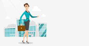 Business woman walking in the city street. Business woman walking down the street. Business woman walking to the success. Business success concept. Vector flat design illustration. Horizontal layout.