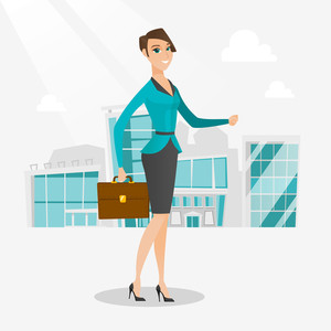 Business woman walking in the city street. Business woman walking down the street. Business woman walking to the success. Business success concept. Vector flat design illustration. Square layout.