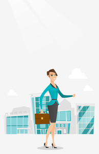 Business woman walking in the city street. Business woman walking down the street. Business woman walking to the success. Business success concept. Vector flat design illustration. Vertical layout.