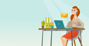 Business woman working on a laptop with email icon. Business woman receiving email. Business woman sending email. Business technology, email concept. Vector flat design illustration. Horizontal layout