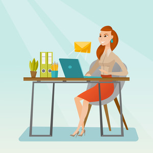 Business woman working on a laptop with email icon. Business woman receiving email. Business woman sending email. Business technology, email concept. Vector flat design illustration. Square layout.