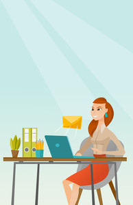 Business woman working on a laptop with email icon. Business woman receiving email. Business woman sending email. Business technology, email concept. Vector flat design illustration. Vertical layout.