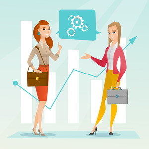 Business women talking on background of financial graph. Business women discussing situation on financial market. Financiers analyzing statistical data. Vector flat design illustration. Square layout.