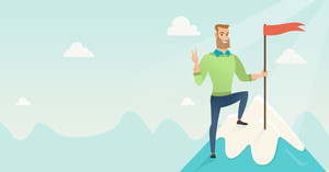Businessman achieved flag on the top of mountain. Businessman celebrating business achievement on the peak of mountain. Business achievement concept. Vector flat design illustration. Horizontal layout