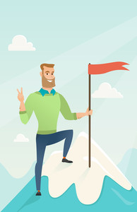 Businessman achieved flag on the top of mountain. Businessman celebrating business achievement on the peak of mountain. Business achievement concept. Vector flat design illustration. Vertical layout.