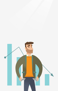 Businessman bankrupt showing empty pockets on the background of decreasing chart. Bankrupt turning his empty pockets inside out. Bankruptcy concept. Vector flat design illustration. Vertical layout.