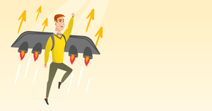 Businessman flying on business start up rocket. Man working on a startup project. Businessman flying with a jet backpack. Business start up concept. Vector flat design illustration. Horizontal layout.