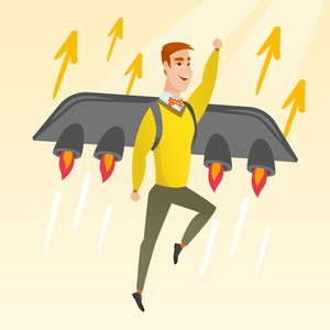 Businessman flying on business start up rocket. Man working on new startup project. Businessman flying with a jet backpack. Business start up concept. Vector flat design illustration. Square layout.