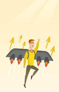 Businessman flying on business start up rocket. Man working on new startup project. Businessman flying with a jet backpack. Business start up concept. Vector flat design illustration. Vertical layout.