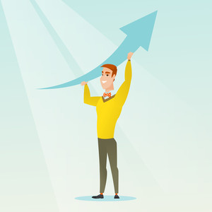 Businessman holding graph going up. Successful businessman with growth graph. Caucasian businessman changing the path of graph to a positive increase. Vector flat design illustration. Square layout
