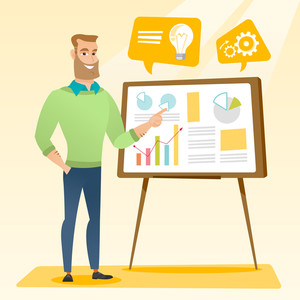 Businessman pointing at charts on board during business presentation. Caucasian businessman giving business presentation. Business presentation concept. Vector flat design illustration. Square layout.