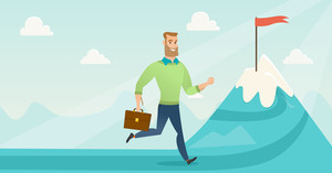 Businessman running to flag on the peak of mountain symbolizing business goal. Man standing on road leading to business goal. Business goal concept. Vector flat design illustration. Horizontal layout.