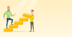 Businessman runs up the career ladder while another man builds this ladder. Businessman climbing the career ladder. Concept of business career. Vector flat design illustration. Horizontal layout.