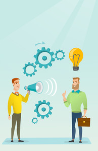 Businessman speaking to megaphone and making announcement for business idea. Businessman came up with idea. Concept of business idea and announcement. Vector flat design illustration. Vertical layout.