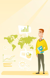 Businessman taking part in global business. Businessman standing on the background of world map. Global business and business globalization concept. Vector flat design illustration. Vertical layout.