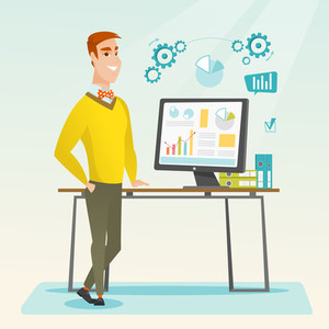 Businessman using computer for making report. Man making business presentation on a computer. Businessman demonstrating report on a computer screen. Vector flat design illustration. Square layout.