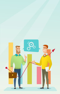 Businessmen discussing market analysis on background of financial graph. Men talking about situation on market. Marketers analyzing statistical data. Vector flat design illustration. Vertical layout.