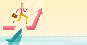 Businesswoman running on ascending graph and jumping over gap. Businessman jumping over ocean with shark. Business growth and business risks concept. Vector flat design illustration. Horizontal layout