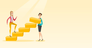 Businesswoman runs up the career ladder while another woman builds this ladder. Business woman climbing the career ladder. Business career concept. Vector flat design illustration. Horizontal layout.