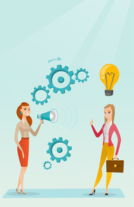 Businesswoman speaking to megaphone and making announcement for business idea. Businesswoman came up with idea. Business idea and announcement concept. Vector flat design illustration. Vertical layout