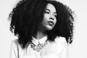 bw portrait of black woman with big hair