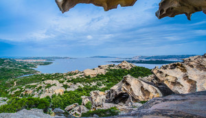 Capo D'orso Palau Sardinia Italy. View from Bear rock. East of the port of Palau you come upon the famous bear's cliff a huge granitic rock. Costa Smeralda Sardinia Italy