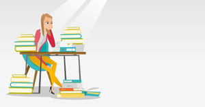 Caucasian annoyed student studying hard before the exam. Young angry student studying with textbooks. Bored female student studying in the library. Vector flat design illustration. Horizontal layout.