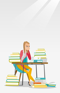 Caucasian annoyed student studying hard before the exam. Young angry student studying with textbooks. Bored female student studying in the library. Vector flat design illustration. Vertical layout.