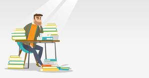 Caucasian annoyed student studying hard before the exam. Young angry student studying with textbooks. Bored hipster student studying in the library. Vector flat design illustration. Horizontal layout.