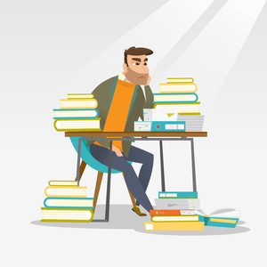 Caucasian annoyed student studying hard before the exam. Young angry student studying with textbooks. Bored hipster student studying in the library. Vector flat design illustration. Square layout.