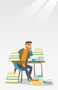 Caucasian annoyed student studying hard before the exam. Young angry student studying with textbooks. Bored hipster student studying in the library. Vector flat design illustration. Vertical layout.