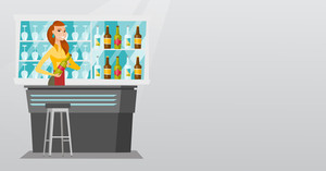 Caucasian bartender standing at the bar counter with a bottle of alcoholic drink. Cheerful bartender holding a bottle of alcoholic drink in hands. Vector flat design illustration. Horizontal layout.