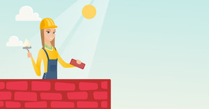 Caucasian bicklayer working with spatula and brick on construction site. Young bricklayer in uniform and hard hat. Bricklayer building brick wall. Vector flat design illustration. Horizontal layout.