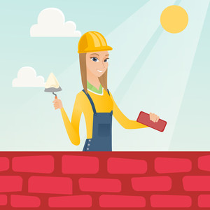 Caucasian bicklayer working with spatula and brick on construction site. Young female bricklayer in uniform and hard hat. Bricklayer building brick wall. Vector flat design illustration. Square layout