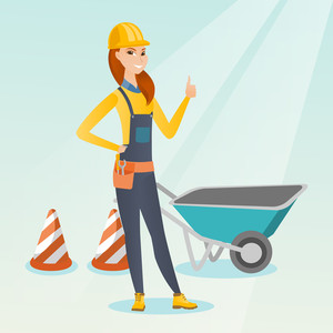 Caucasian builder showing thumb up while standing near wheelbarrow. Young builder in hard hat giving thumb up. Builder at work on construction site. Vector flat design illustration. Square layout.