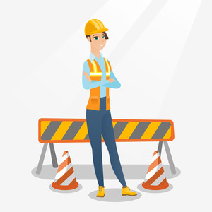 Caucasian builder standing on the background of construction site with road barriers. Builder standing with arms crossed. Confident builder in hard hat. Vector flat design illustration. Square layout.