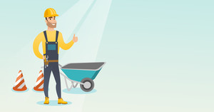 Caucasian builder with thumb up standing near wheelbarrow and traffic cones. Builder in helmet giving thumb up. Builder at work on construction site. Vector flat design illustration. Horizontal layout