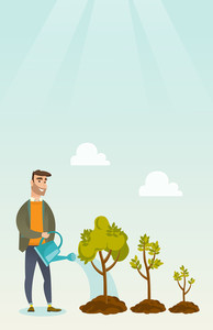 Caucasian business investor watering trees of three sizes. Business investor watering plants with watering can. Business growth and investment concept. Vector flat design illustration. Vertical layout