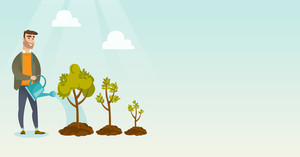 Caucasian business investor watering trees of three sizes. Business investor watering tree with watering can. Business growth and investment concept. Vector flat design illustration. Horizontal layout