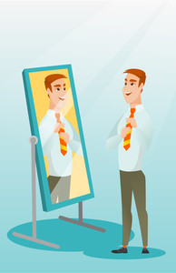 Caucasian business man adjusting tie in front of the mirror. Business man looking at himself in the mirror. Man checking his appearance in the mirror. Vector flat design illustration. Vertical layout.